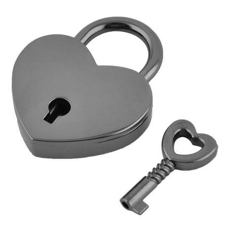 Drawer Suitcase Metal Heart Shaped Security Lock Padlock Black w
