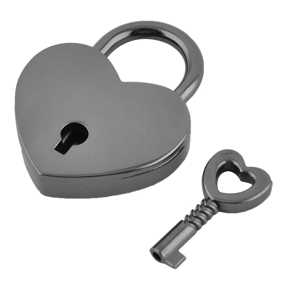 Drawer Suitcase Metal Heart Shaped Security Lock Padlock Black w