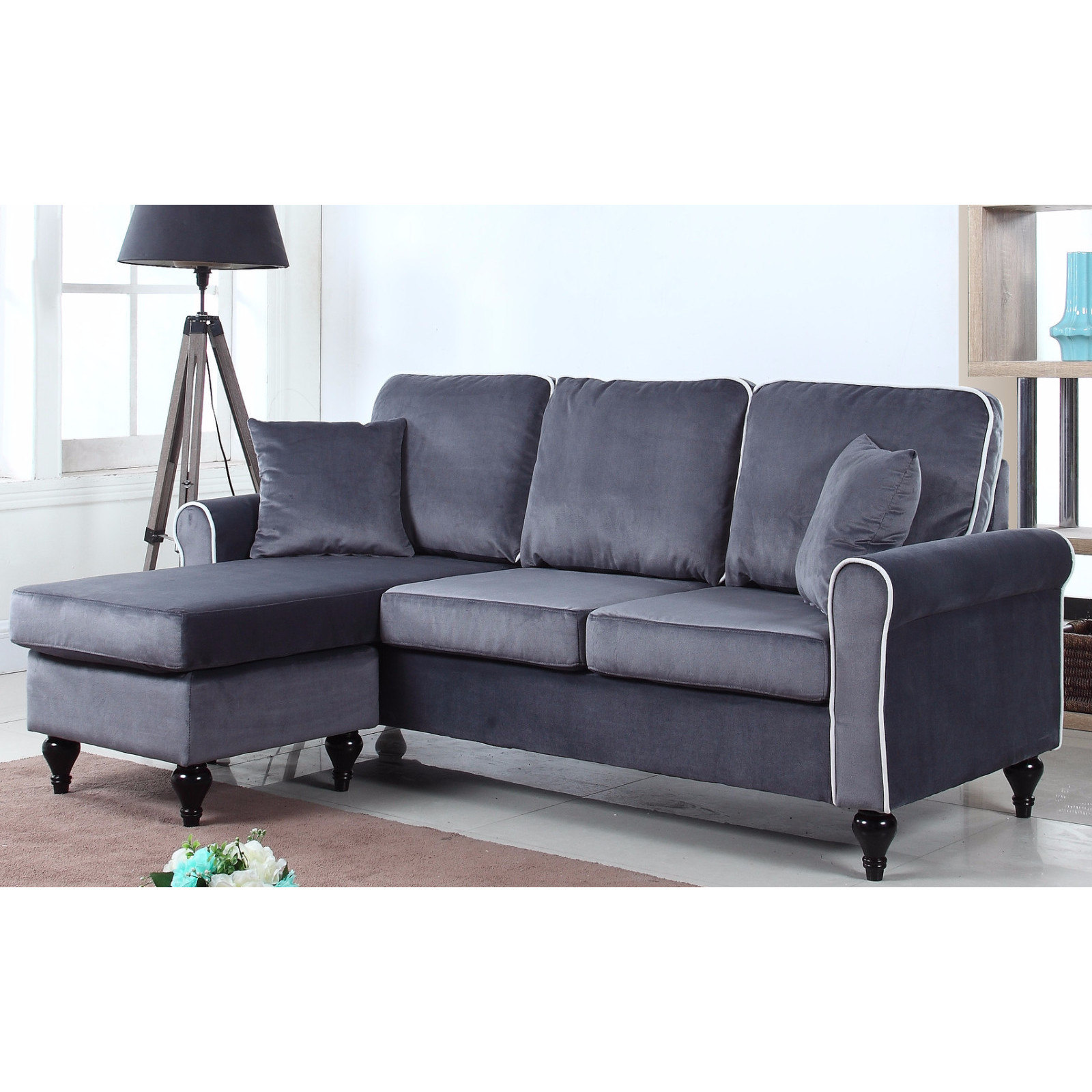 Classic and traditional small space velvet sectional sofa with reversible chaise purple walmart com