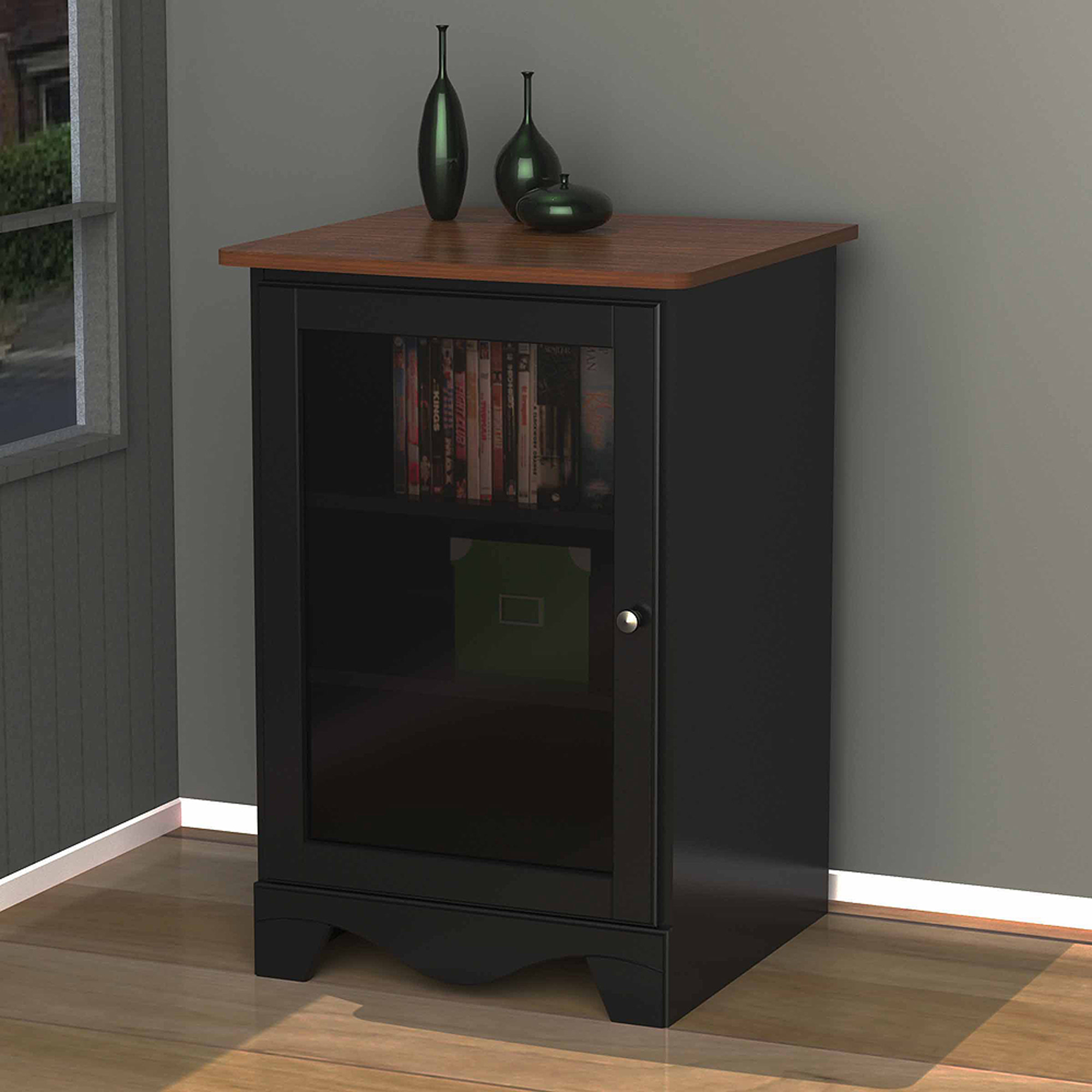 Nexera Pinnacle Cherry/Black 1-Door Audio Tower