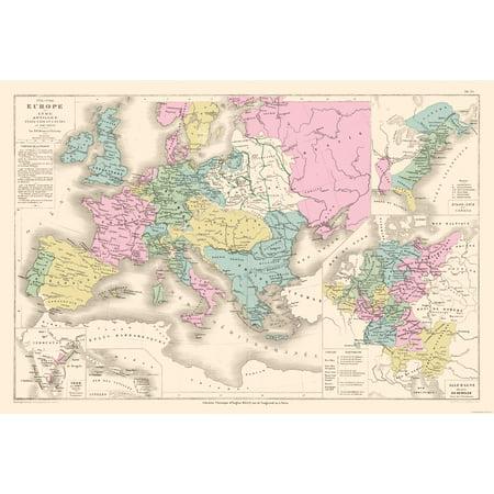 International Map - Europe 1715-1789 - Drioux 1882 - 34 04 x 23