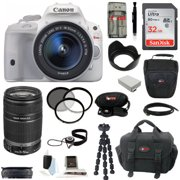 Canon EOS Rebel SL1 DSLR Camera w/ 18-55mm & 55-250mm Lenses & 32GB Kit (White)