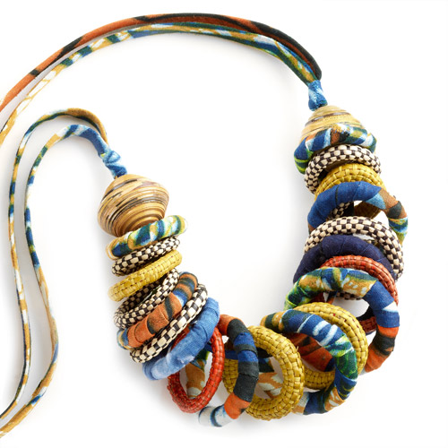 Infinity Necklace with Fabric, Straw and Paper by Gahaya Links for Full Circle Exchange