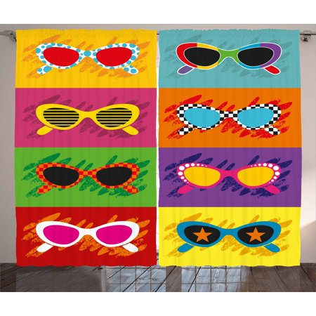 - 70s Party Decorations Curtains 2 Panels Set, Pop Art Style Sunglasses Vibrant Colorful Combination Summer Fun, Window Drapes for Living Room Bedroom, 108W X 84L Inches, Multicolor, by Ambesonne