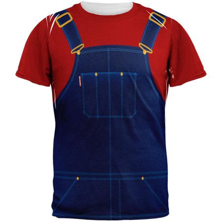 Halloween Overalls Red T-Shirt Costume All Over Adult T-Shirt (Costumes With Overalls)