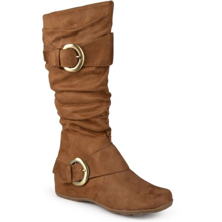 Brinley Co. Women's Buckle Accent Slouchy Mid-Calf Boots