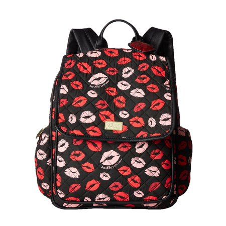 Luv Betsey Johnson Pucker Up Lips Tech Backpack, Black