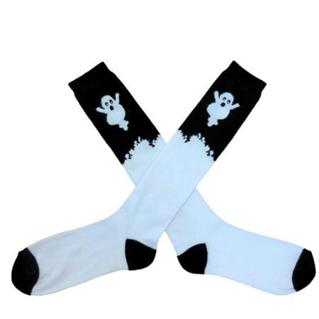 My Halloween Womens Long White   Black Ghost Themed Knee Socks