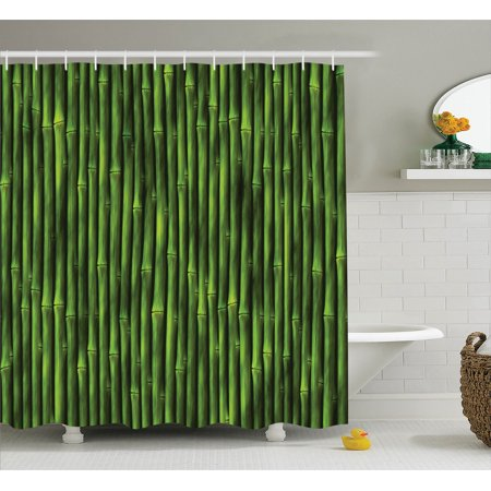 Bamboo Decor Shower Curtain Set Bamboo Stems Pattern