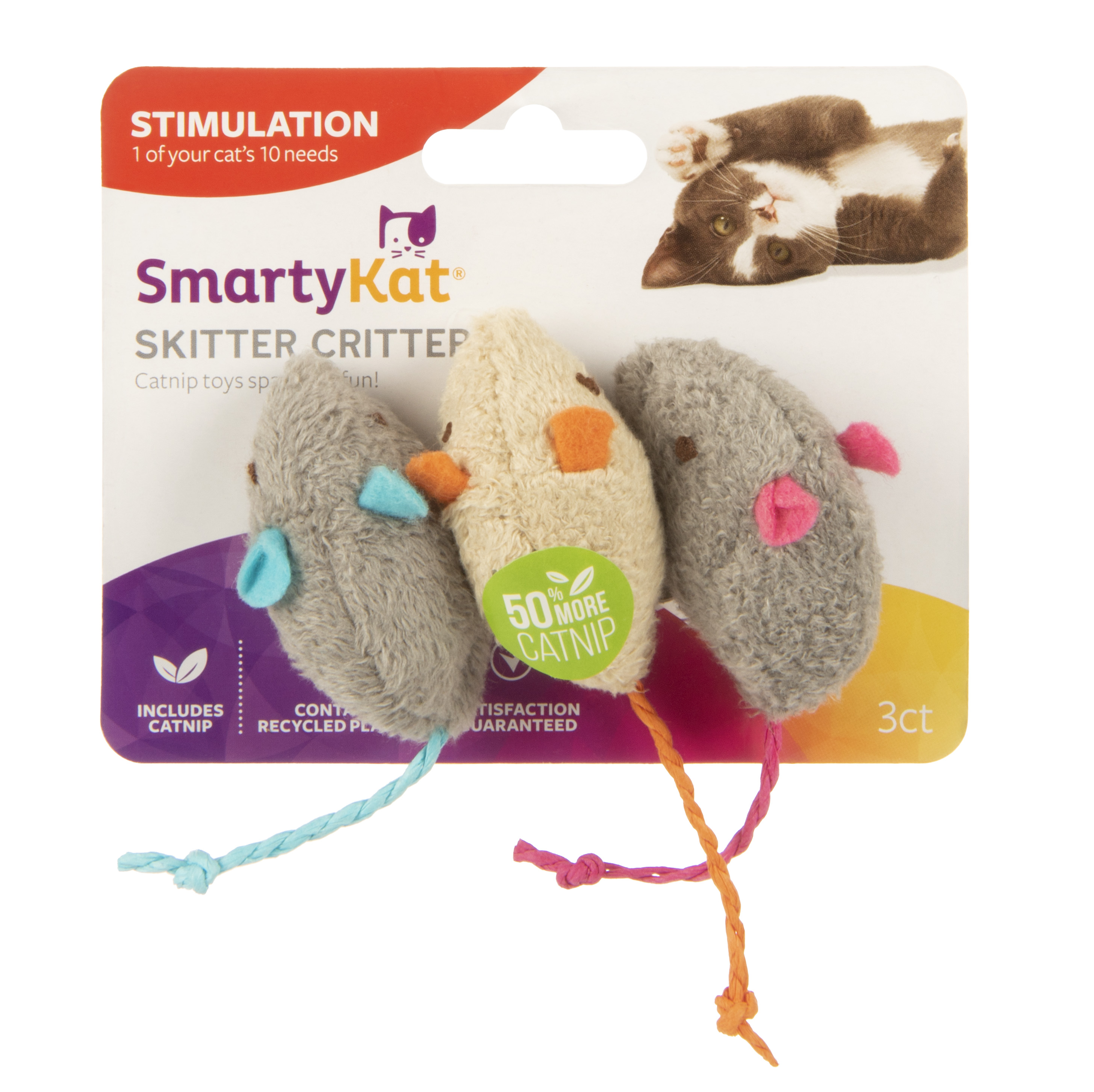 SmartyKat Skitter Critters Mice Catnip Cat Toys, 3 Count