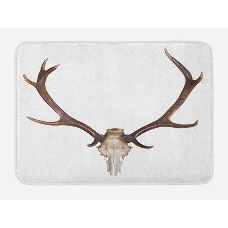 Big Boned Skeleton (Antlers Bath Mat, Antlers of a Huge Stag Elk Skeleton Big Bone Horn Hunter Style Artwork Print, Non-Slip Plush Mat Bathroom Kitchen Laundry Room Decor, 29.5 X 17.5 Inches, Brown)