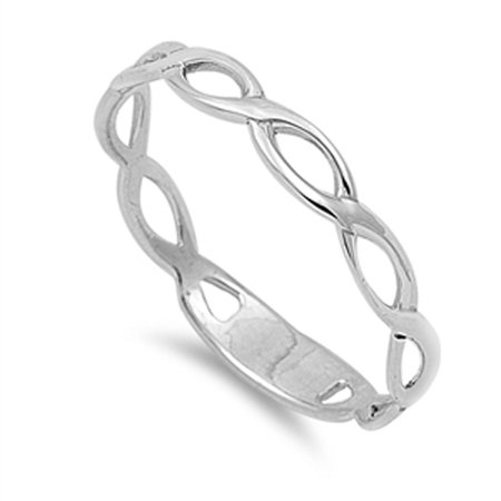 Wave Infinity Solid Beautiful Ring ( Sizes 2 3 4 5 6 7 8 9 10 11 12 ) New .925 Sterling Silver Band Rings by Sac Silver (Size 8)