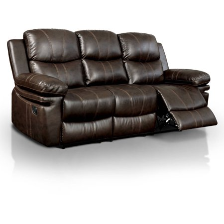 Cross Country Furniture Office Sofa (Furniture of America Mason Transitional Leatherette Reclining Sofa, Brown )