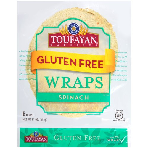 Toufayan Bakeries Gluten Free Spinach Wraps, 6 count, 11 oz
