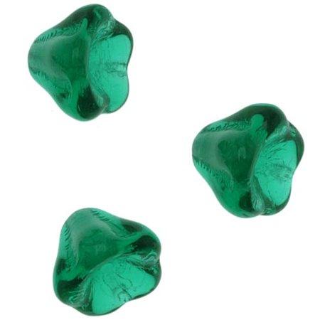 Czech Glass Beads 6mm X 8mm Flower Bell Beadcaps Emerald Green (15)