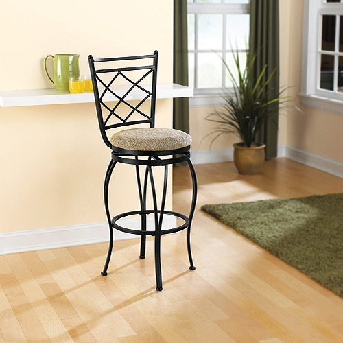 "29"" Swivel Metal Bar Stool, Black"
