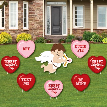 Conversation Hearts - Yard Sign & Outdoor Lawn Decorations - Valentine's Day Party Yard Signs - Set of 8 - Cheap Valentine Decorations