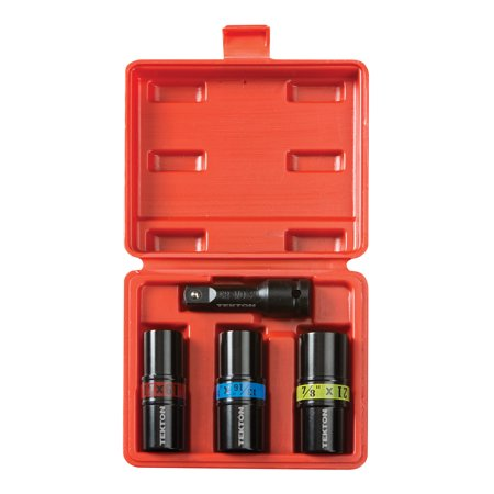 Wheel Nut Socket Set (TEKTON 1/2-Inch Drive Lug Nut Service Tool Flip Impact Socket Set, Inch/Metric, 4-Piece |)
