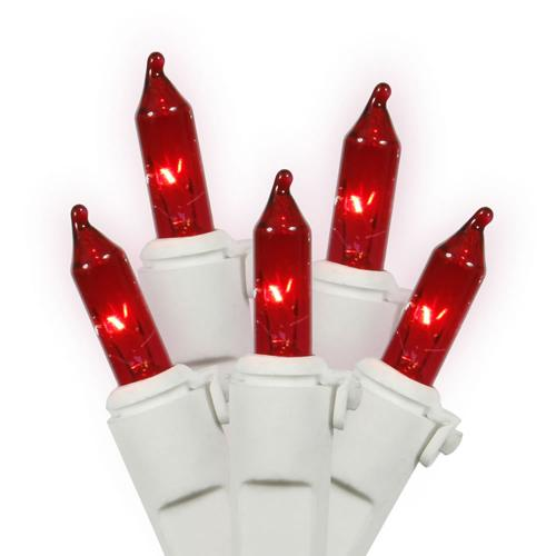 "Set of 35 Red Mini Christmas Lights 4"" Bulb Spacing 22 AWG - White Wire"
