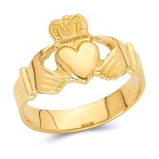 Wellingsale Men's Solid 14k Yellow Gold Polished Friendship and Love Irish Claddagh Right Hand Fashion Ring - Size 8