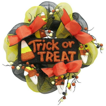 Trick Or Treat Candy Corn Mesh Wreath Harvest Fall Halloween Decoration](Halloween Mesh Decorations)