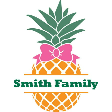 Personalized Name Vinyl Decal Sticker Custom Initial Wall Art Personalization Decor Pineapple Fruit Family Last Name Welcome Sign Bow 12 Inches X 12 Inches Pineapple Welcome Address Plaque