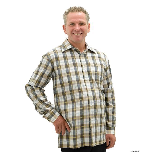 Silverts 504000503 Long Sleeve Regular Sport Shirt for Men - Navy Check, Large - image 1 de 1
