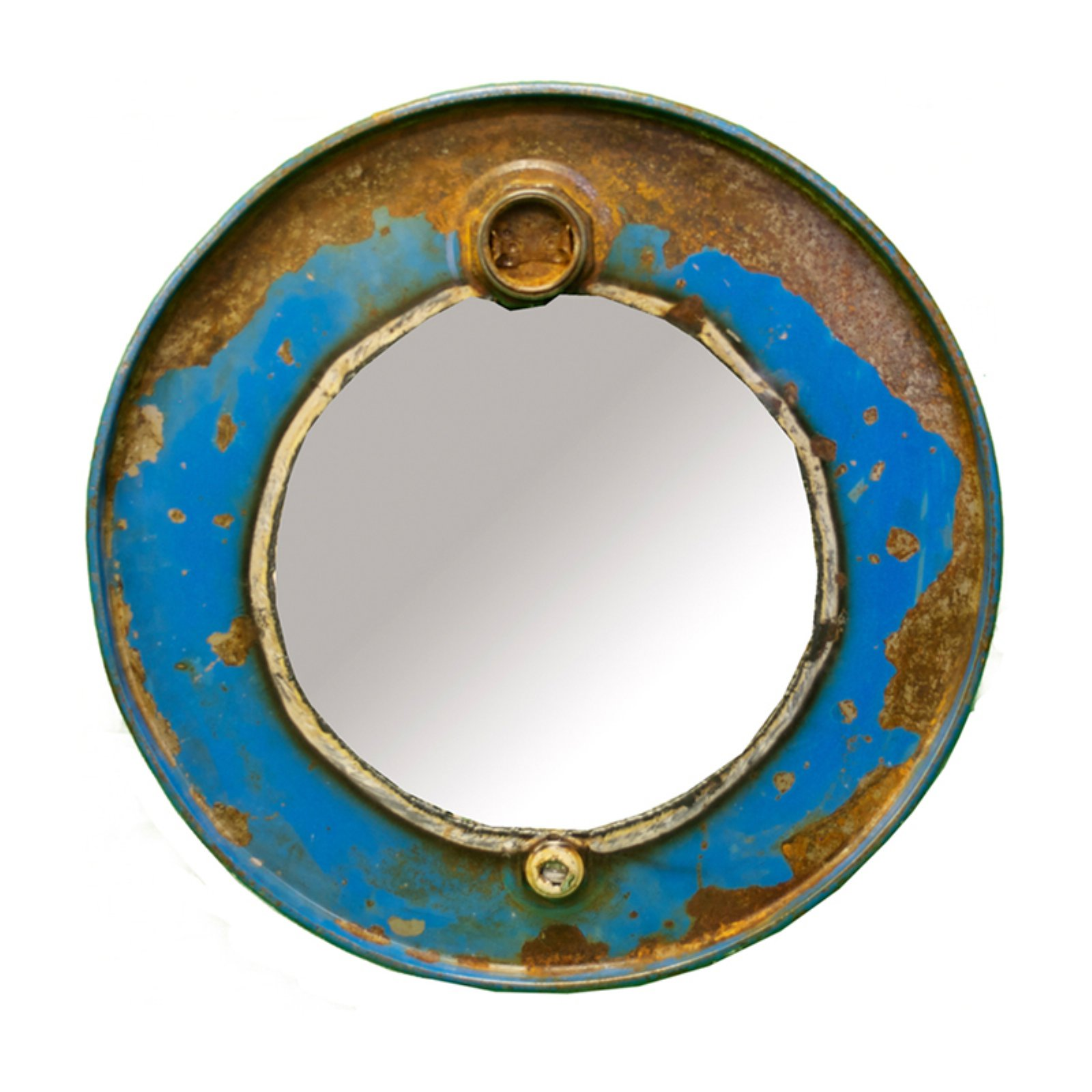 Cobalt Steam Punk Barrel Wall Mirror - 23W x 23H in.