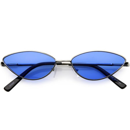 Retro Small Metal Cat Eye Sunglasses For Women Color Tinted Lens 55mm (Silver / Blue) ()