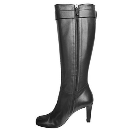 Gucci Boots Interlocking G Leather Riding Mid-heel Tumbled GG Metal Logo Leather (9.5 (39.5), (Gucci Original Gg Canvas)