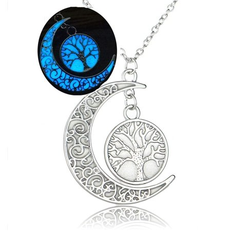 Ginger Lyne Collection Glow In The Dark Moon With Tree of Life Pendant Chain Necklace - Glow Necklaces Bulk
