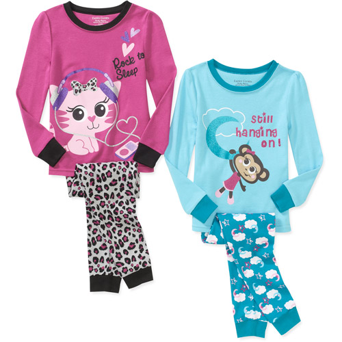 Faded Glory Baby Girls' Tight Fit Pajamas, 2 Sets