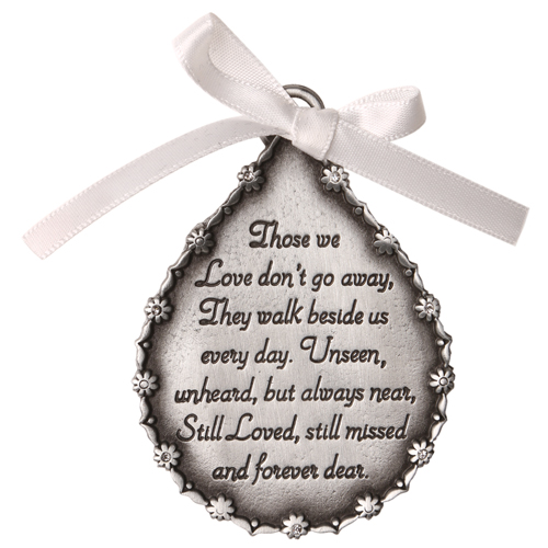 Tear-Shaped Pewter Finish Memorial Ornament