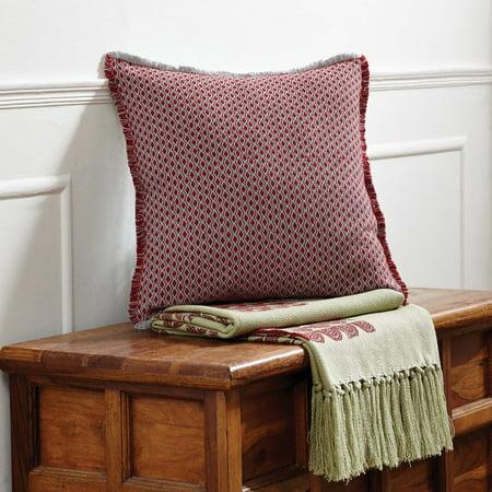 Deep Red Seasonal Decor Tannen Cotton Textured Diamond Square Pillow (Pillow Cover, Pillow Insert)