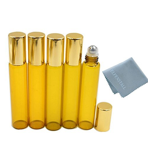 10ml Amber Roll on Glass Bottles Lot Essential Oil Steel Metal Roller Ball 5pcs