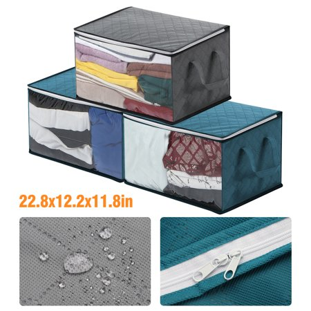 TSV 1/2PCS Foldable Closet Organizer Clothing Storage Bags with Clear Window, 2 Reinforced Handle and Sturdy Zipper, Clothing Containers for Clothes, Sweater, Blanket, Pillows (22.8x12.2x11.8inch) WOWParts team offers 30 days return or replacement quality warranty & lifetime technical supports. Please contact us freely if you need anyfurhter assistance.  Product Features:  Anti-mold and Breathable: Stackable customized durable 100 g/ fabric, anti-mold and breathable, let air in to keep sheets fresh. You can store season clothes for best protection.  Large Space: Large than other clothes organizer about 3  in length, easily get about 10 adult sweaters or 2 winter blankets or 6 bath towels into every clothes storage bag, the organization storage's size is 22.8x12.2x11.8inch.  Design and Functions: This smart container has a Clear PVC window that helps you identify the stored contents quickly without needless searching and digging. The heavy-duty double metal zippers help to open either side at a time and close stitches creates a nice seal for the items inside.  Reinforced Handles: 2 reinforce handles of the clothing Organizer Bags are designed for easily lift or moving to stack up and set them in your wardrobe, basement, attic, drawers, under the bed. These reusable storage bags are great when moving to a new home anywhere around the world.  Applications: Used for organizing seasonal apparel, saree, quilt, garment, linen, bedding sheets, holiday decorations, etc., bring a clean and tidy appearance to your home, room, college dorm, office, laundry, car, RV.   Product Specification:  Type:  Storage Bag  Material:  Non-woven fabrics Color:  Grey/Blue  Size:  22.8x12.2x11.8inch (58 x 31 x 30 cm)  Package Includes:  1 x Storage Bag