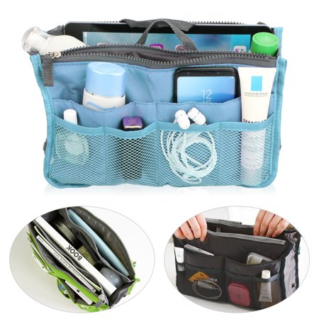 EEEKit Travel Insert Handbag for Women, Cosmetic Makeup Purse Insert Liner Pouch Organizer Bag in Bag w/13 Pockets Functional ()