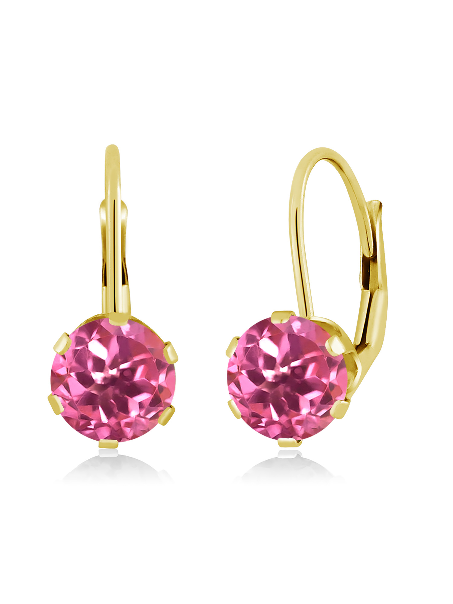 2.00 Ct Round Pink Mystic Topaz 14K Yellow Gold Earrings by