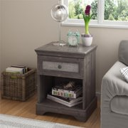 Altra Ameriwood Home Stone River Nightstand with Fabric Insert, Rustic Oak