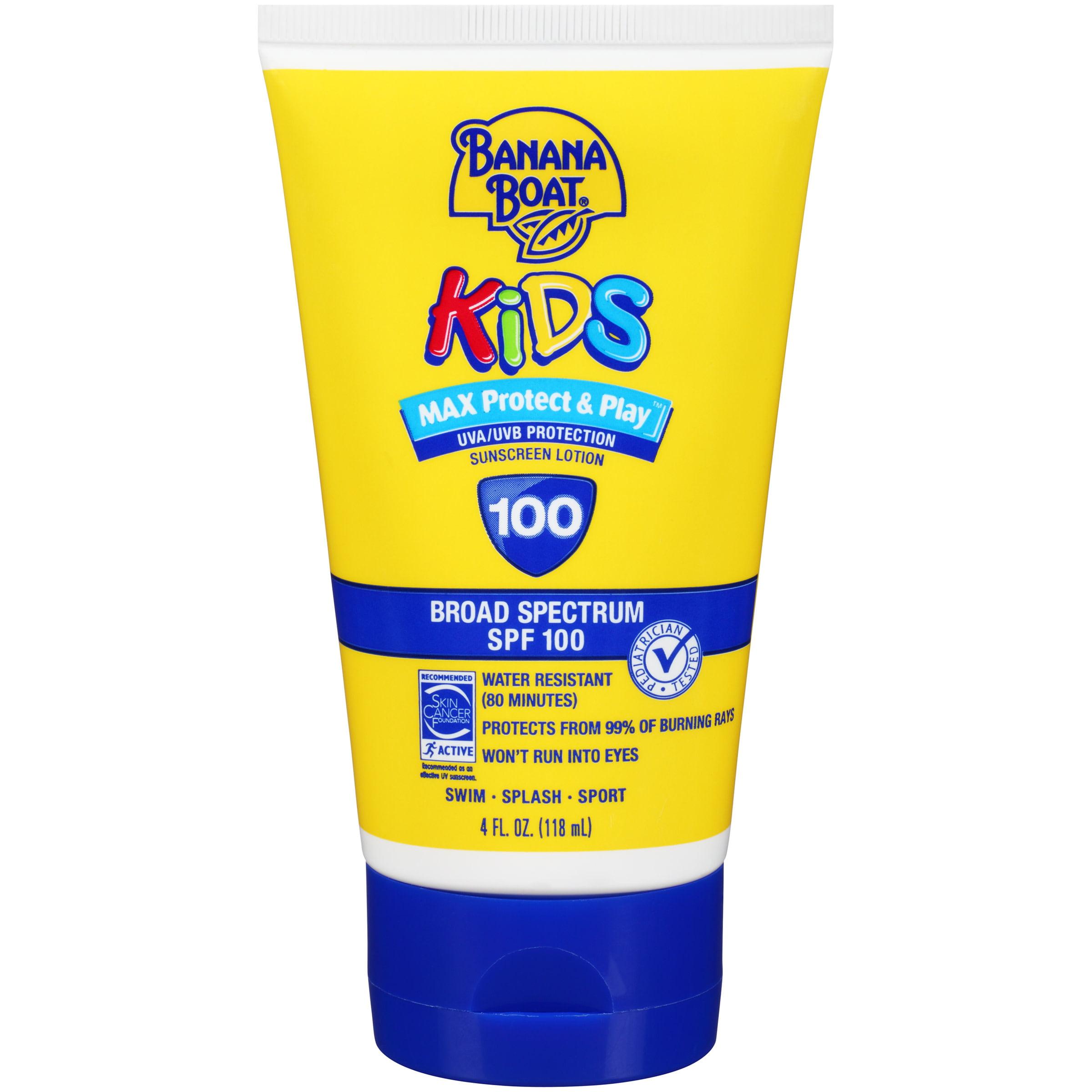 Banana Boat Kids Max Protect & Play Sunscreen Lotion SPF 100, 4 Oz