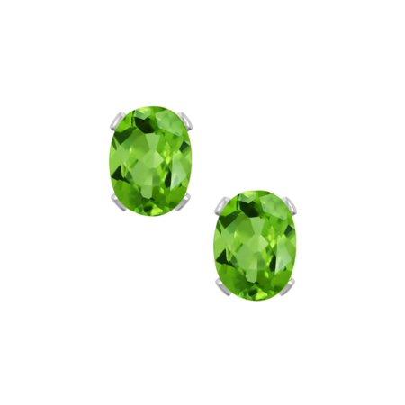 1.60 Ct Green Peridot 925 Sterling Silver 7X5mm Stud Earrings