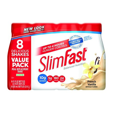 Slim Fast Original weight loss Meal Replacement RTD shakes with 10g of protein and 4g of fiber plus 24 Vitamins and Minerals per serving, French.., By