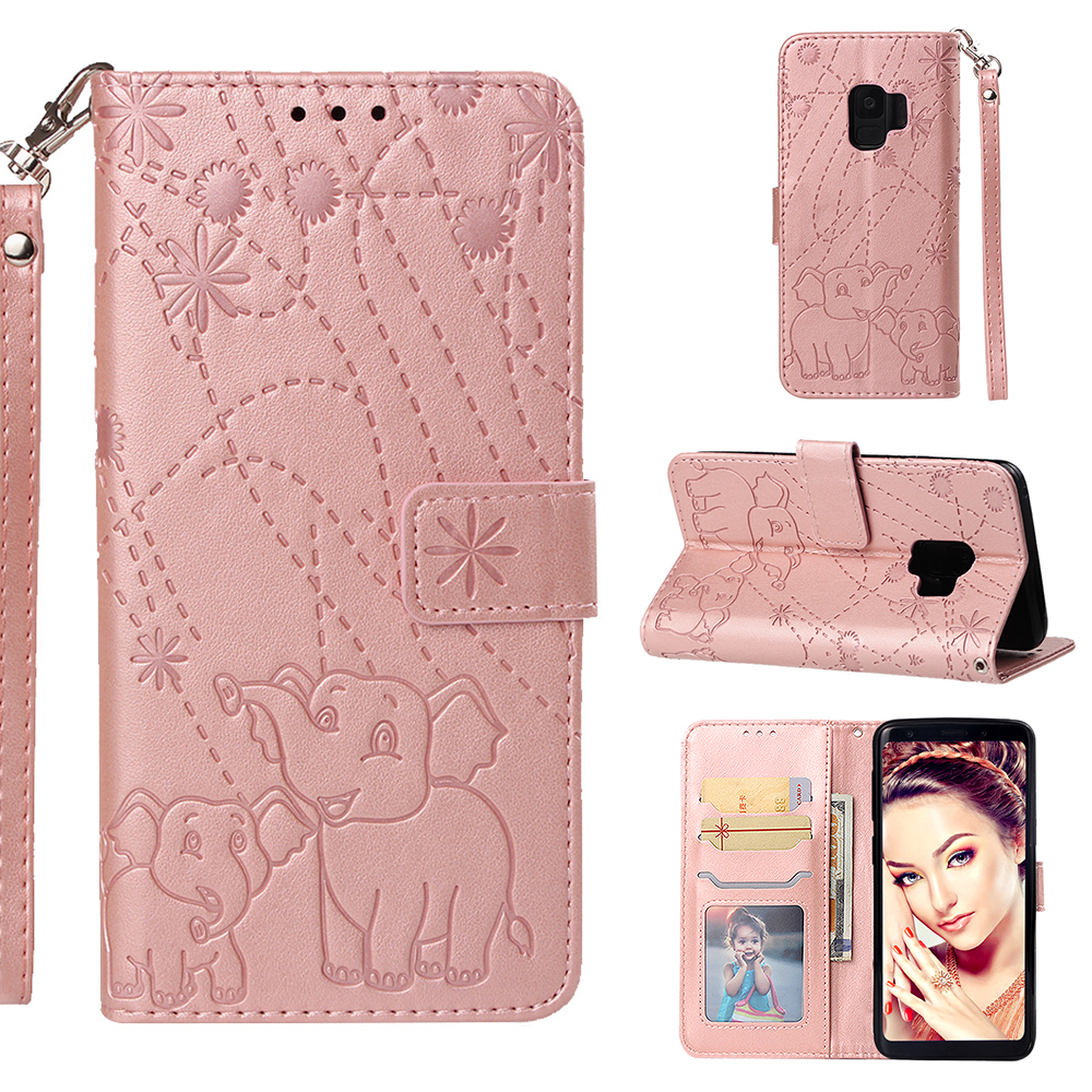 Galaxy S9 Case, S9 Case Wallet, Allytech Folio Flip Kickstand Elephant Embossed Retro Hand Wrist Magnetic Closure Cards Cash Pouch Shockproof Wallet Case Cover for Samsung Galaxy S9, Rosegold
