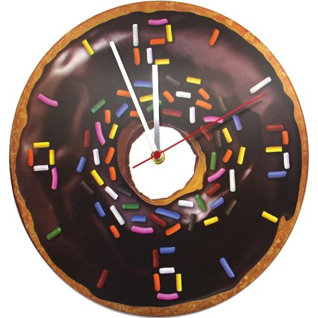 11.5 Inch Donut Clock - Realistic Chocolate Frosted Design Is Ready To Hang - Clock Craft