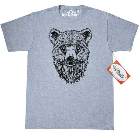 Inktastic Bearded Bear T-Shirt Men Beards Tattoos Beard Illustration Lumberjack Trend Bread Gift For Him Mens Adult Clothing Apparel Tees T-shirts