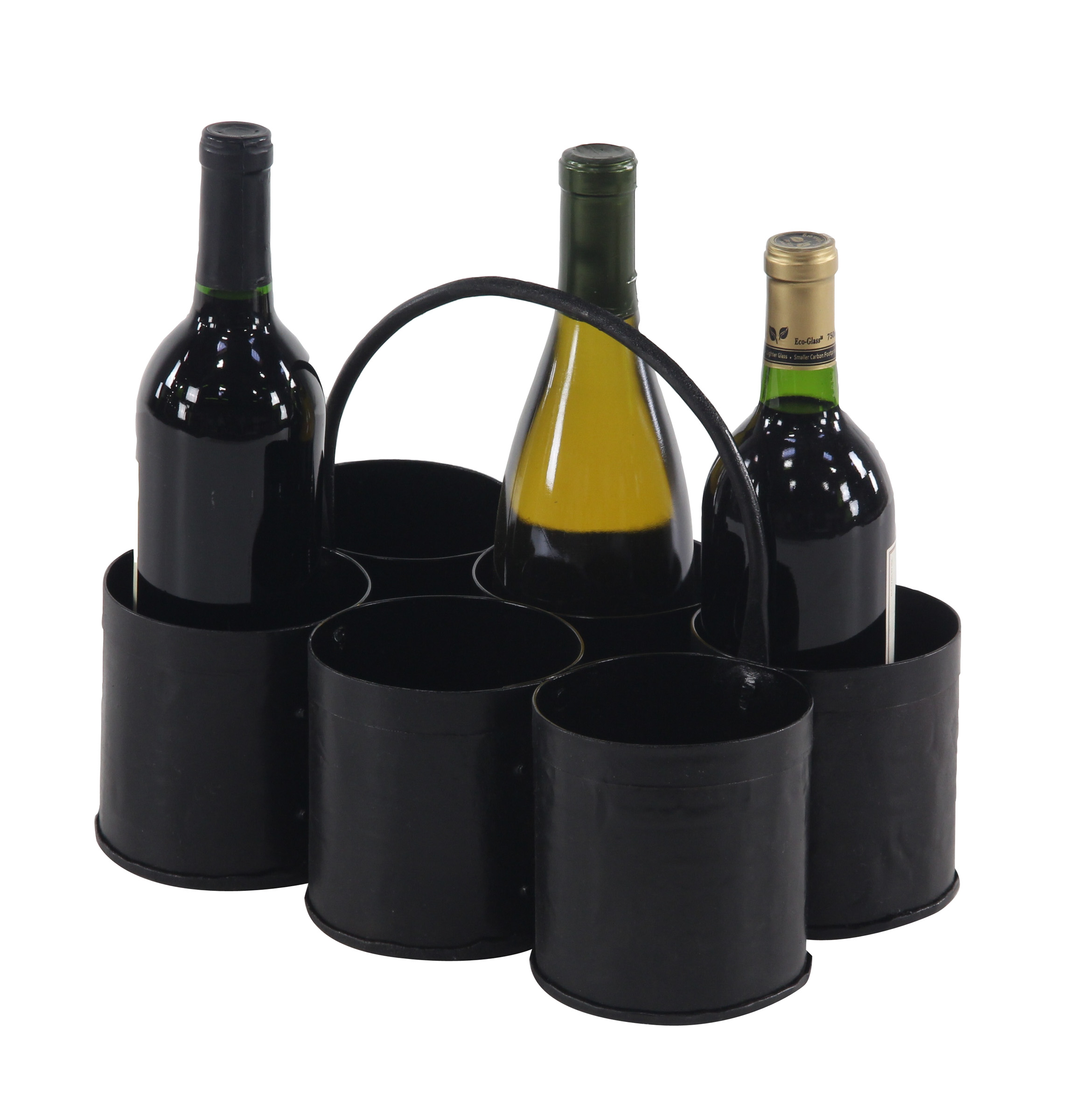 Decmode Farmhouse 5 X 12 Inch Gray Iron Six-Bottle Wine Holder