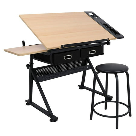 - Zeny Height Adjustable Drafting Draft Desk Drawing Table Desk Tiltable Tabletop w/Stool and Storage Drawer for Reading, Writing Art Craft Work Station