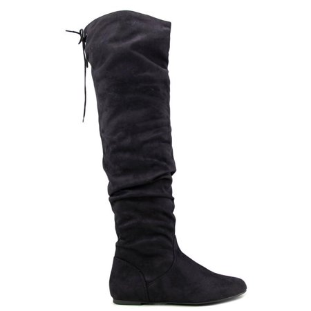 Soda Women Over The Knee Thigh High Flat Boots Back Lace Up Slip On Slouch LONGBAY Suede Black (Flat Suede Slouch Boots)
