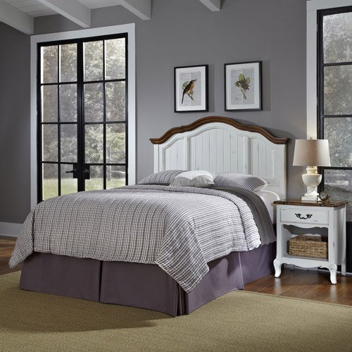 The french countryside full queen headboard and nightstand for Headboard dresser and nightstand set