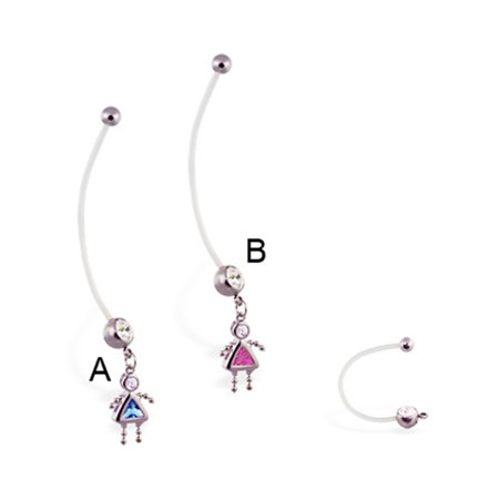 Super Long Flexible Bioplast Belly Ring With Dangling Jeweled Kid Pink B